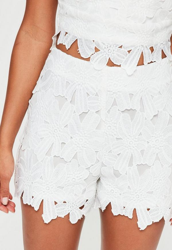 White Flower Lace High Waisted Shorts | Missguided