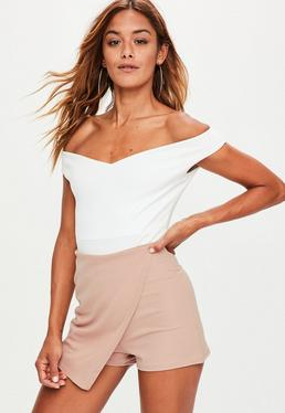 Nude Wrap Over Crepe Skort