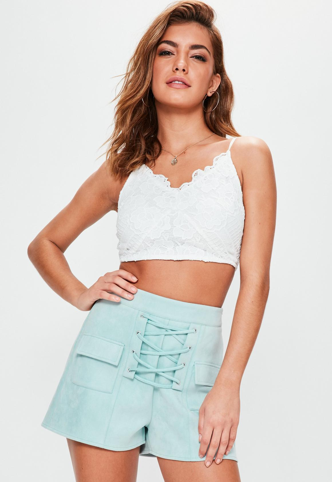 Green Faux Suede Lace Up High Waisted Shorts | Missguided