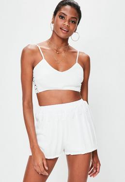 White Crochet Waist Cheesecloth Shorts
