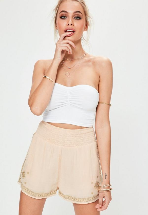 Nude Gold Embroidered Shirred Waist Shorts