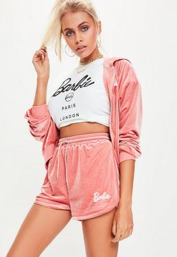 Barbie x Missguided Pink Velour Embroidered Shorts