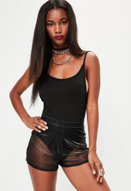 Black Mesh Runner Metallic Shorts