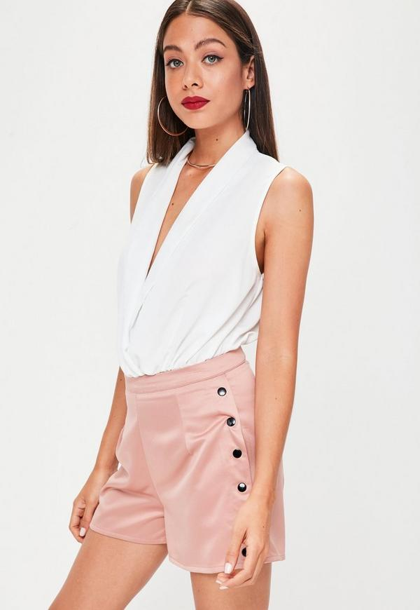 Nude Button Side Tailored Shorts