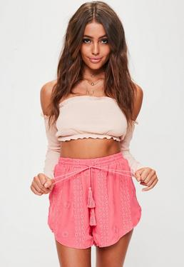 Pink Embroidered Runner Shorts