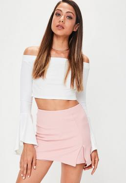 Light Pink Crepe Slit Front Skort