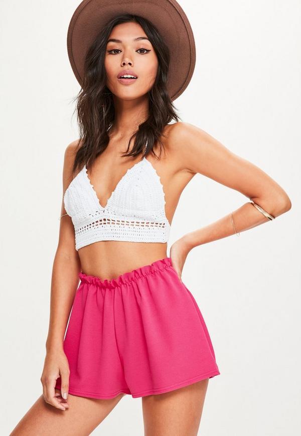 Pink Ruffle Waist Shorts
