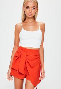Falda pantalón con anudado frontal en chifón naranja