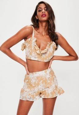 Nude Lace Frill Shorts