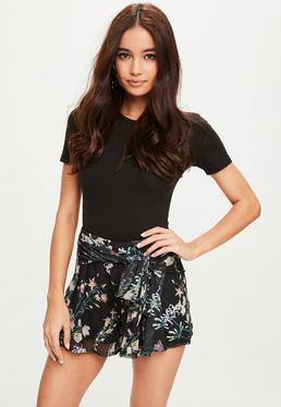 Black Mesh Tie Front Floral Shorts