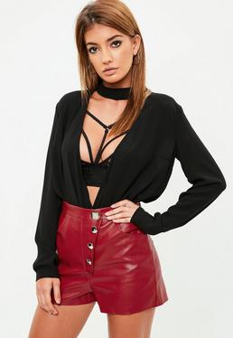 Red Faux Leather Button Up Shorts