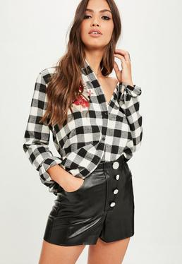 Black Faux Leather Button Up Shorts