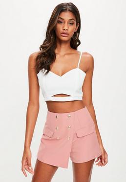 Falda pantalón entallada con botones en rosa palo