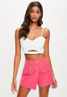 Różowe eleganckie spódniczko-spodenki