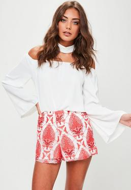 Red Printed Lace Shorts