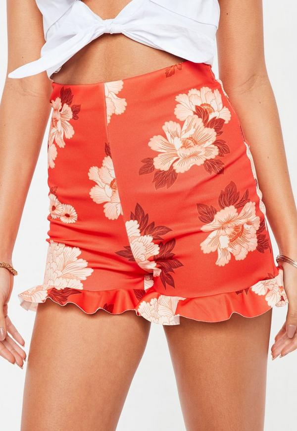 Red Floral Frill Hem Shorts   Missguided