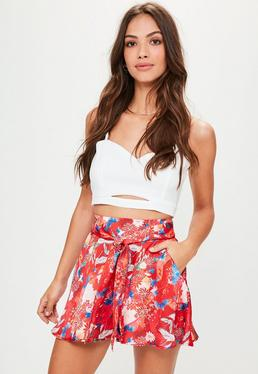 Red Floral Satin Belted Shorts