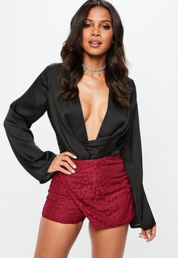 Burgundy Lace Shorts