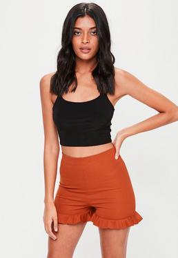 Orange Frill Hem Shorts