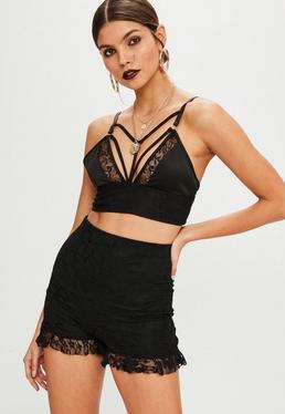 Black Lace Ruffle Hem Shorts