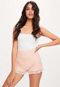 Pink Lace Ruffle Hem Shorts