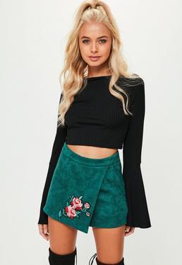 Green Faux Suede Skort Skirt