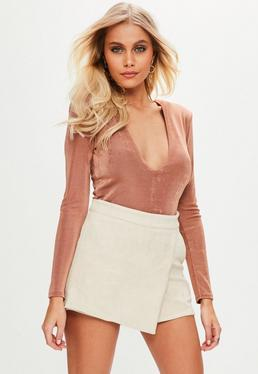 Cream Bonded Faux Suede Skirt