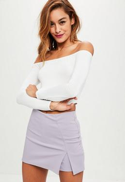 Mauve Stretch Crepe Split Detail Skort