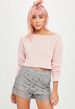 Grey Lace High Waisted Shorts