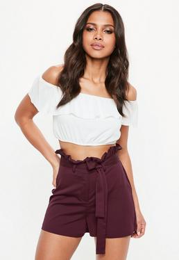 Burgundy Paperbag High Waist Tailored Shorts