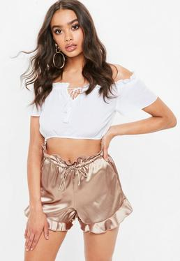 Blush Satin Paperbag Waist Frill Hem Shorts