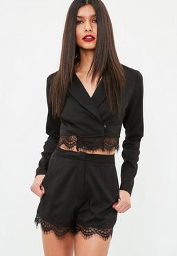 Black Lace Hem Tailored Shorts
