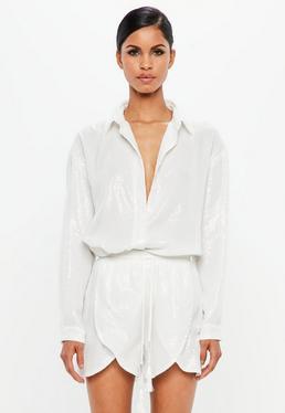 Love label sequin skirt cami dress white