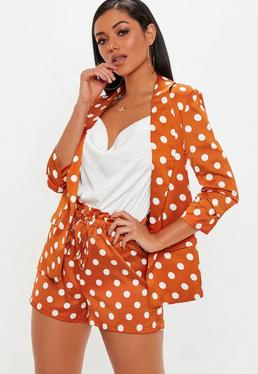 Orange Satin Polka Dot Shorts