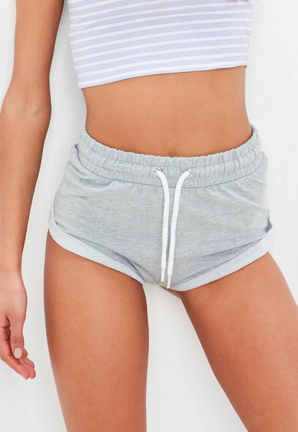 grey turn up hem cheeky shorts | missguided