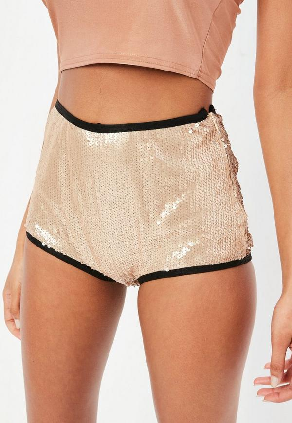 gold sequin cheeky shorts | missguided