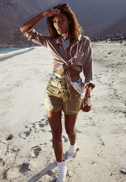 Khaki Satin Lace Up Shorts