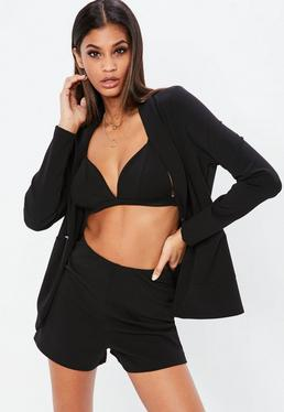 Nabilla x Missguided Black Stretch Tailored High Waist Shorts