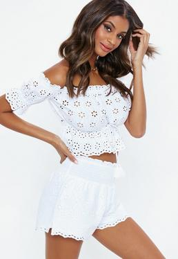 White Shirred Waist Broderie Shorts