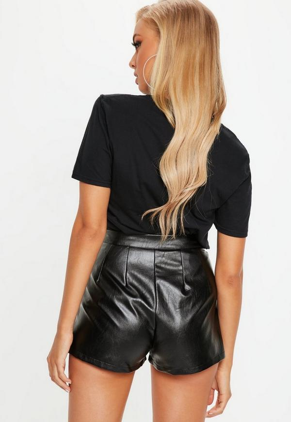 Black Faux Leather Shorts Missguided
