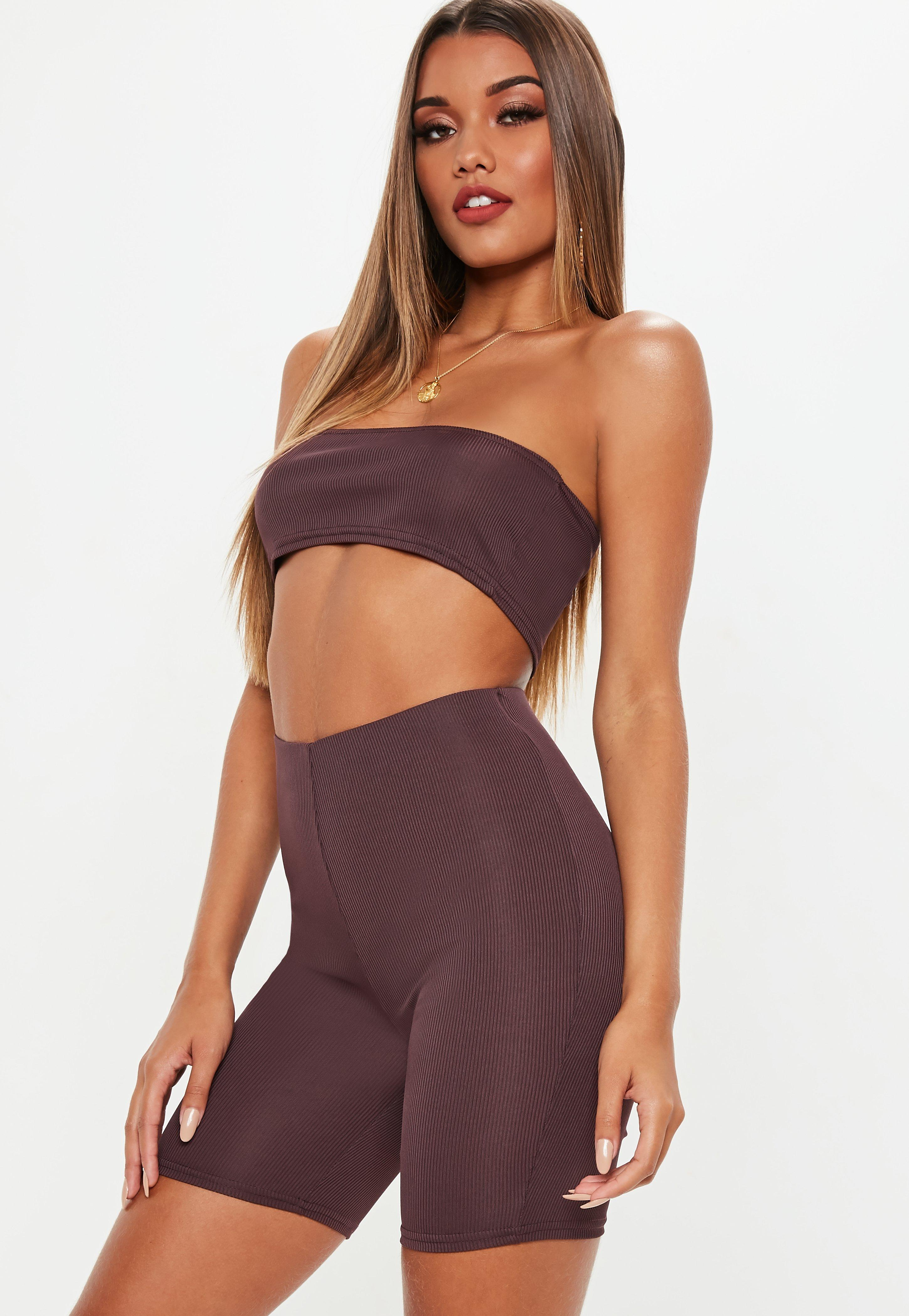c8e1748f686dc Plum Bandeau Ribbed Crop Top And Cycling Shorts Co Ord