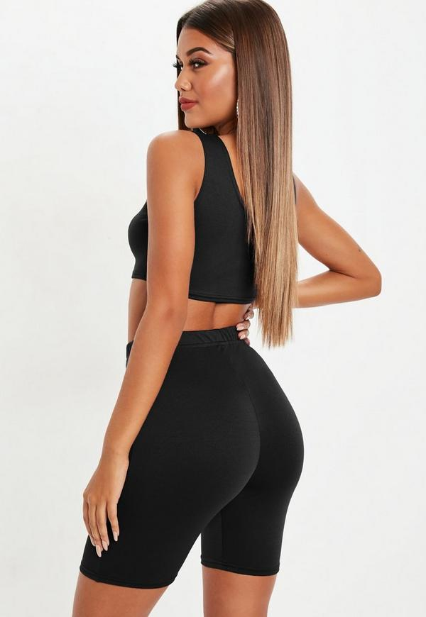 Black Crop Top And Cycling Shorts Co Ord Set Missguided