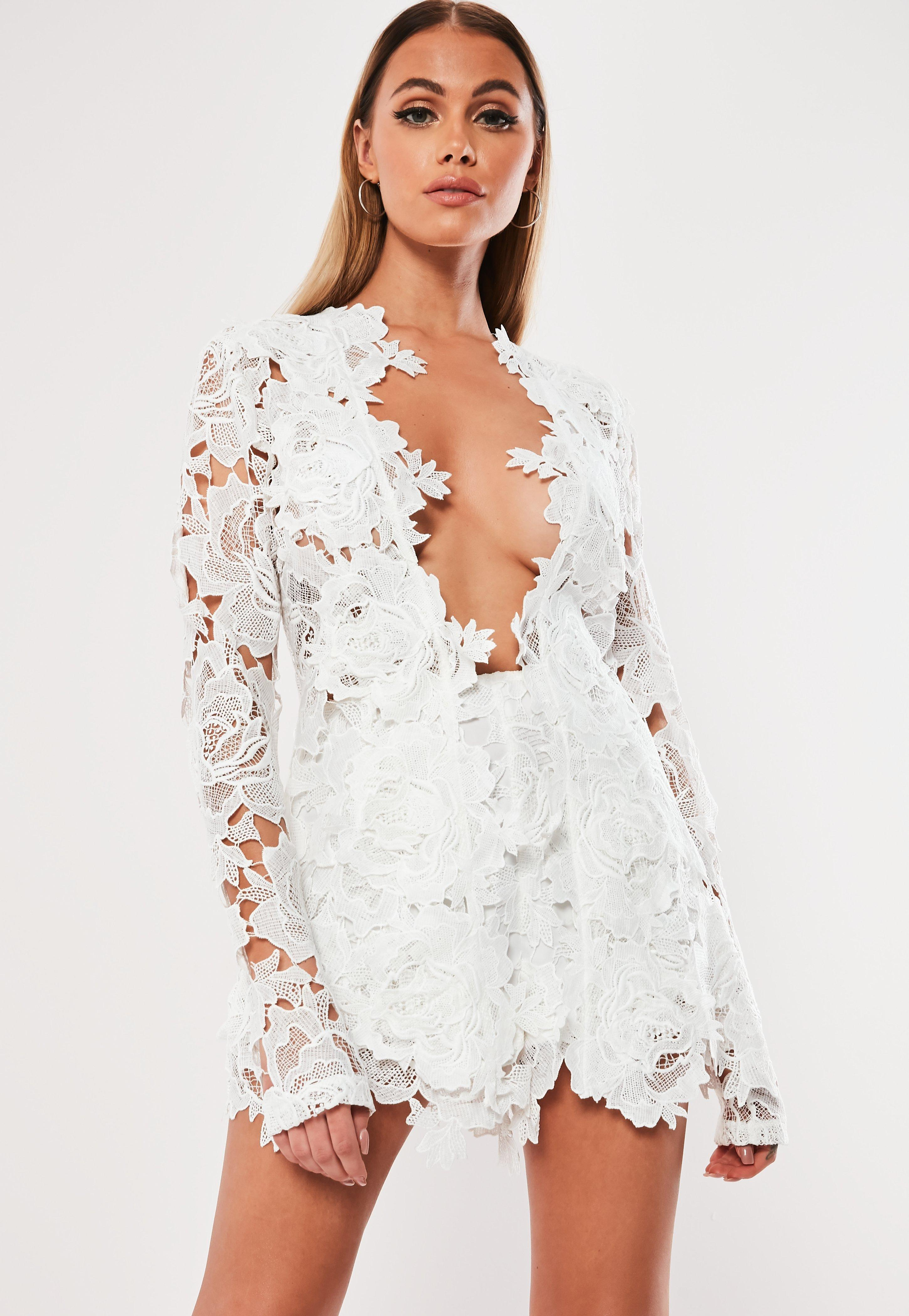 White Co Ord Crochet Lace Scalloped Shorts Missguided
