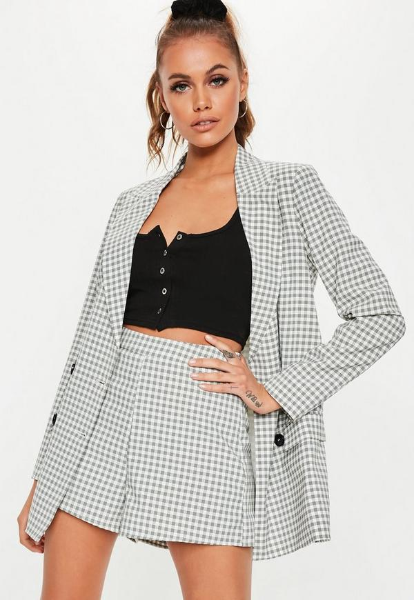 Gray Plaid Co Ord Mini Shorts by Missguided