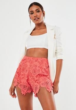 Pink Co Ord Вязаные шорты с кружевной отделкой