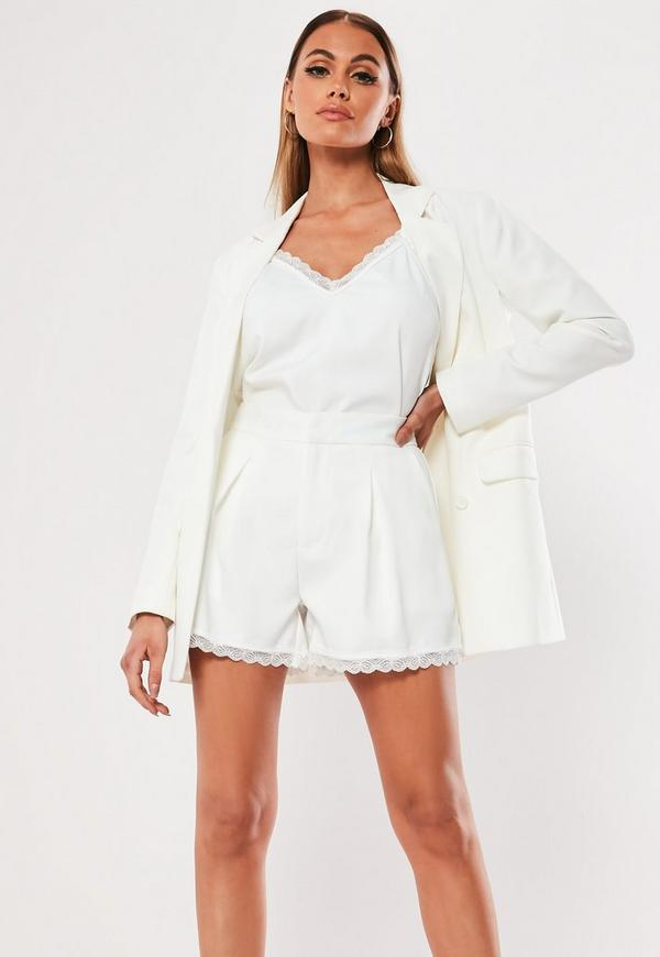 cd843cf02ad White Co Ord Lace Trim Tailored Shorts