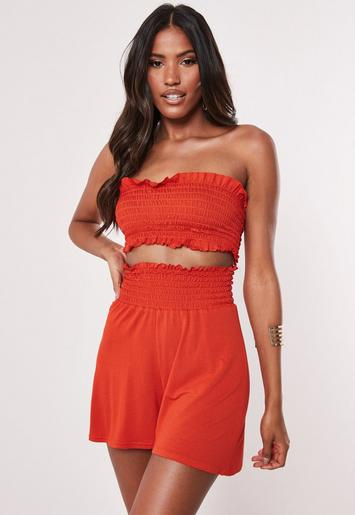 Orange Ruched Bandeau And Short Co Ord Set by Missguided