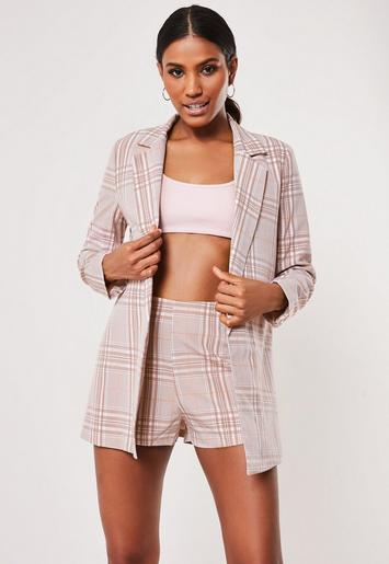 Pink Co Ord Check Tailored Jacket by Missguided