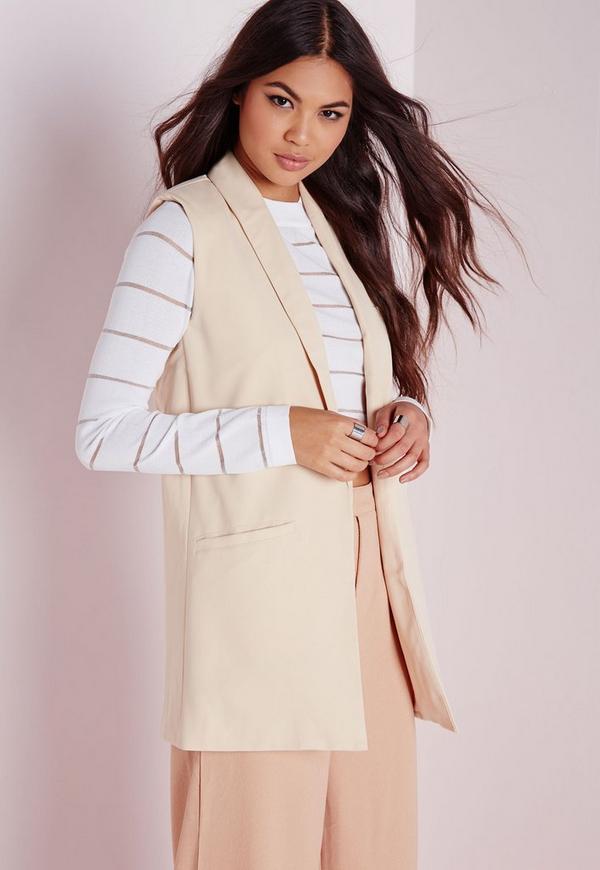 sleeveless longline blazer camel