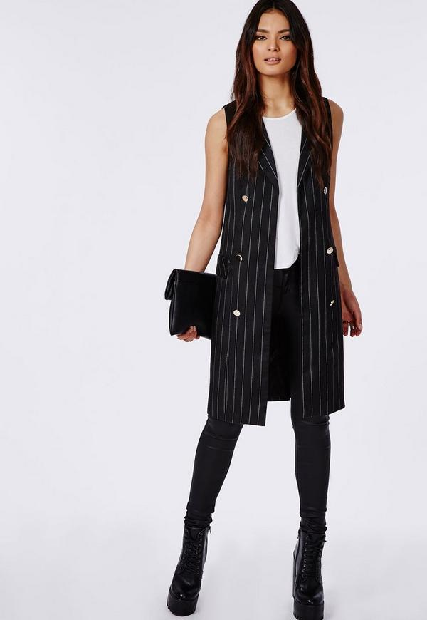 Pinstripe Sleeveless Double Breasted Blazer Black